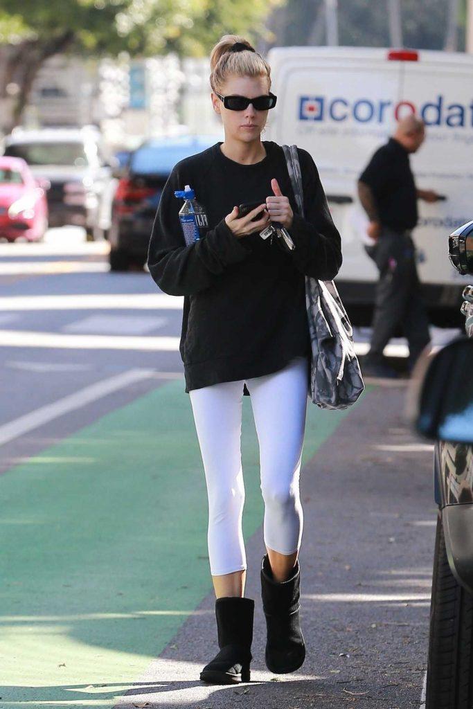 Charlotte McKinney in a White Leggings