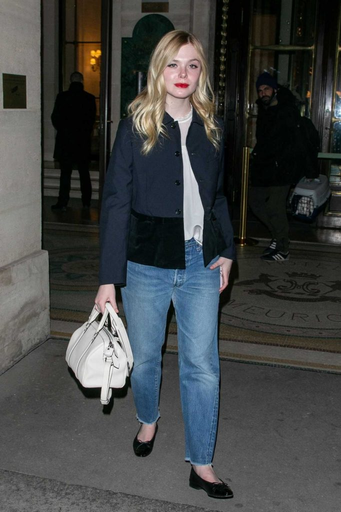 Elle Fanning in a Black Jacket