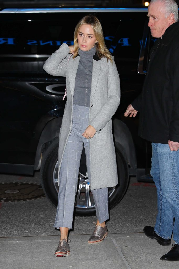 Emily Blunt in a Gray Coat