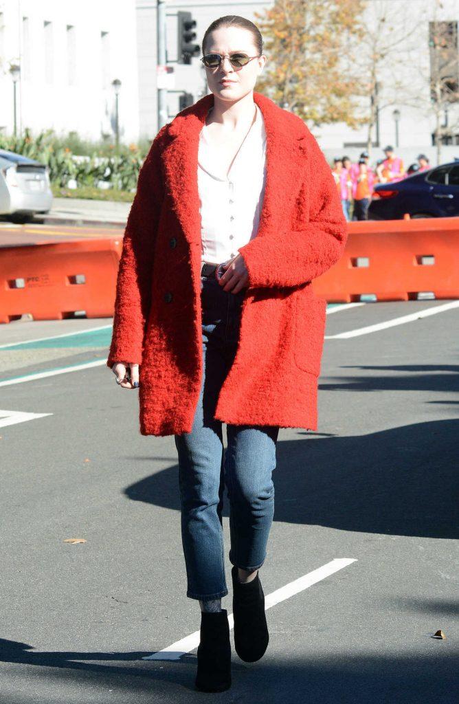 Evan Rachel Wood in a Red Coat