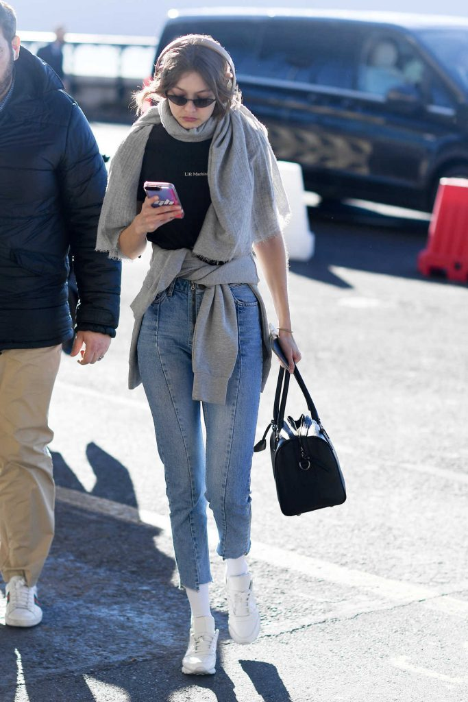 Gigi Hadid in a White Sneakers