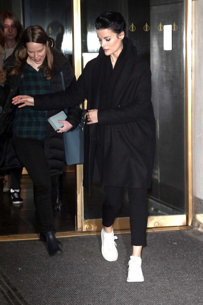 Jaimie Alexander in a Black Coat