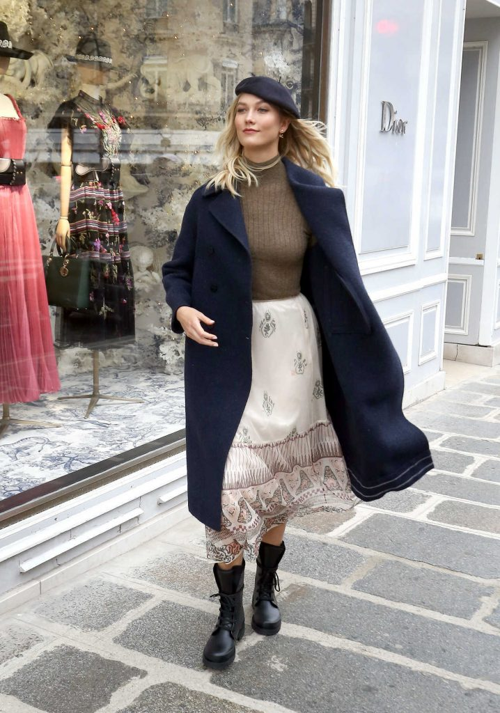Karlie Kloss in a Dark Blue Coat