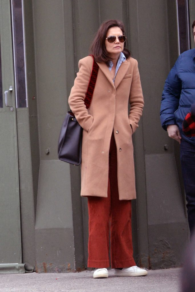 Katie Holmes in a Peach Coat