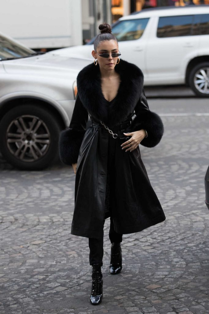 Madison Beer in a Black Leather Coat