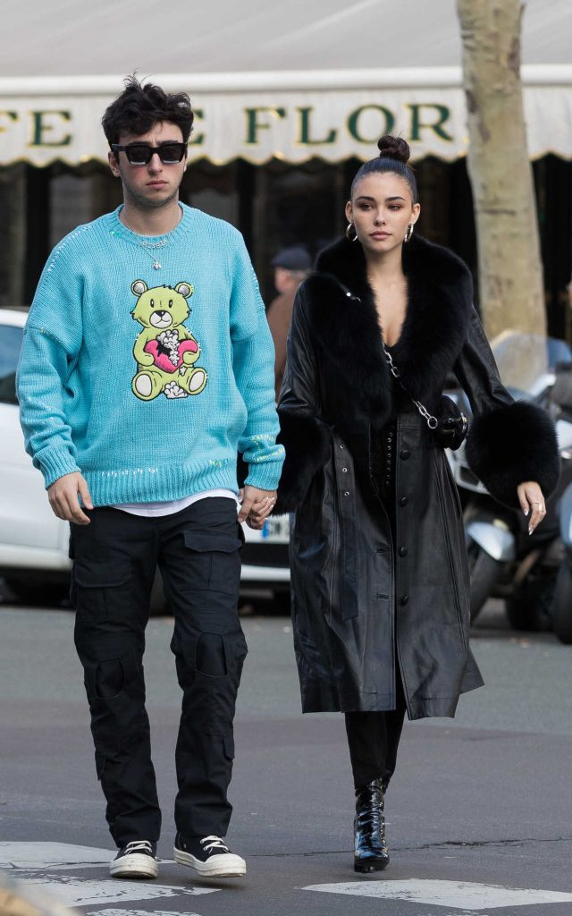 Madison Beer in a Black Leather Coat Arrives at the Amiri ...
