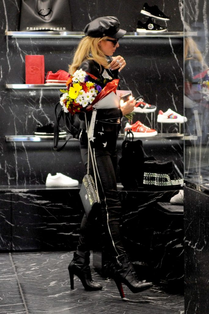 Paris Hilton in a Black Cap