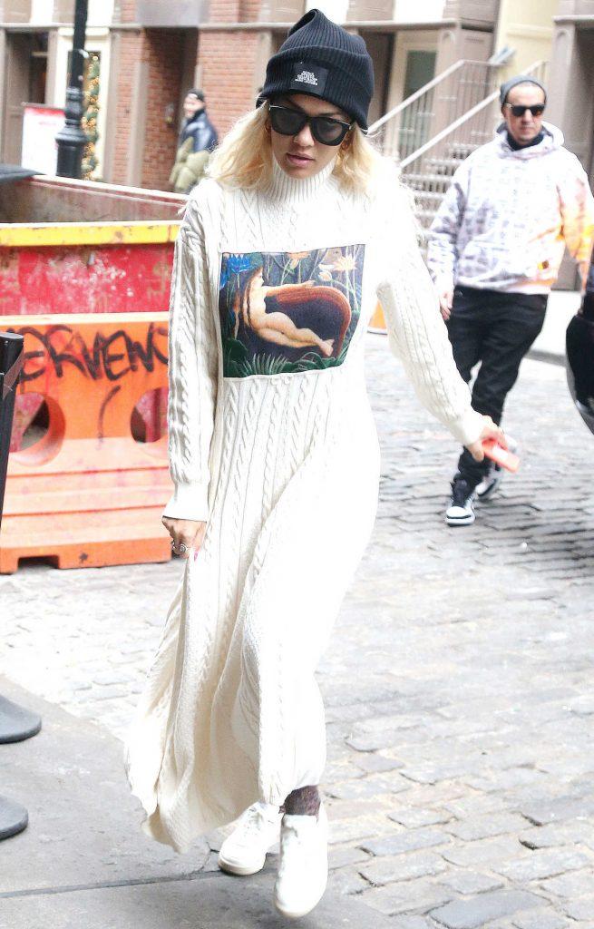 Rita Ora in a Black Knit