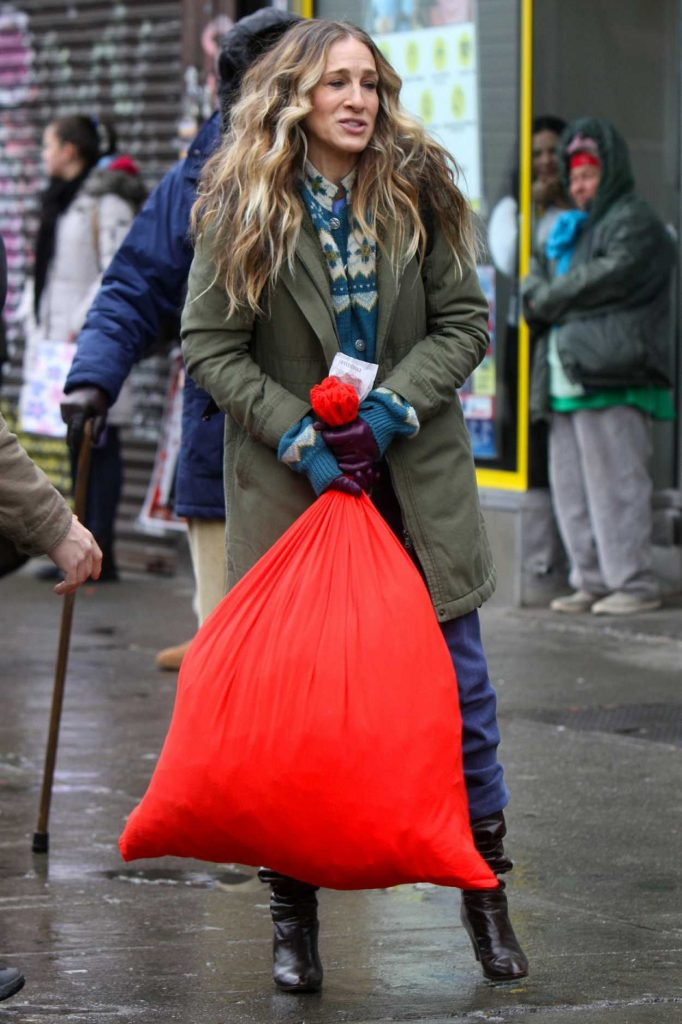 Sarah Jessica Parker in a Green Coat