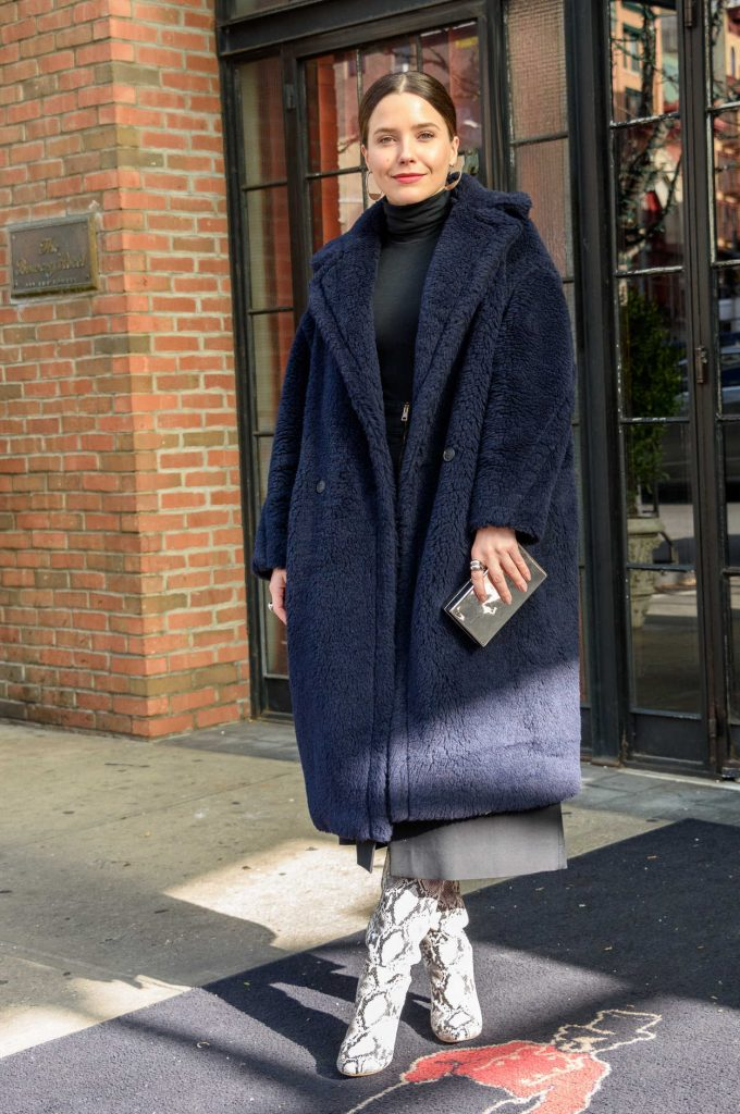 Sophia Bush in a Dark Blue Fur Coat