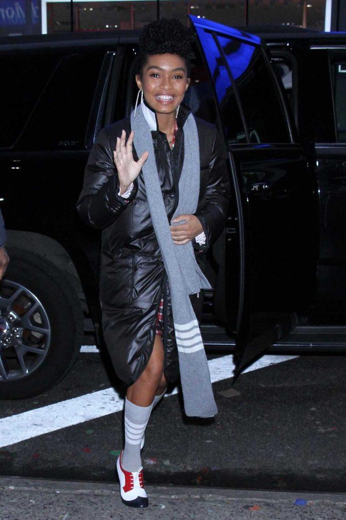 Yara Shahidi in a Black Puffer Coat