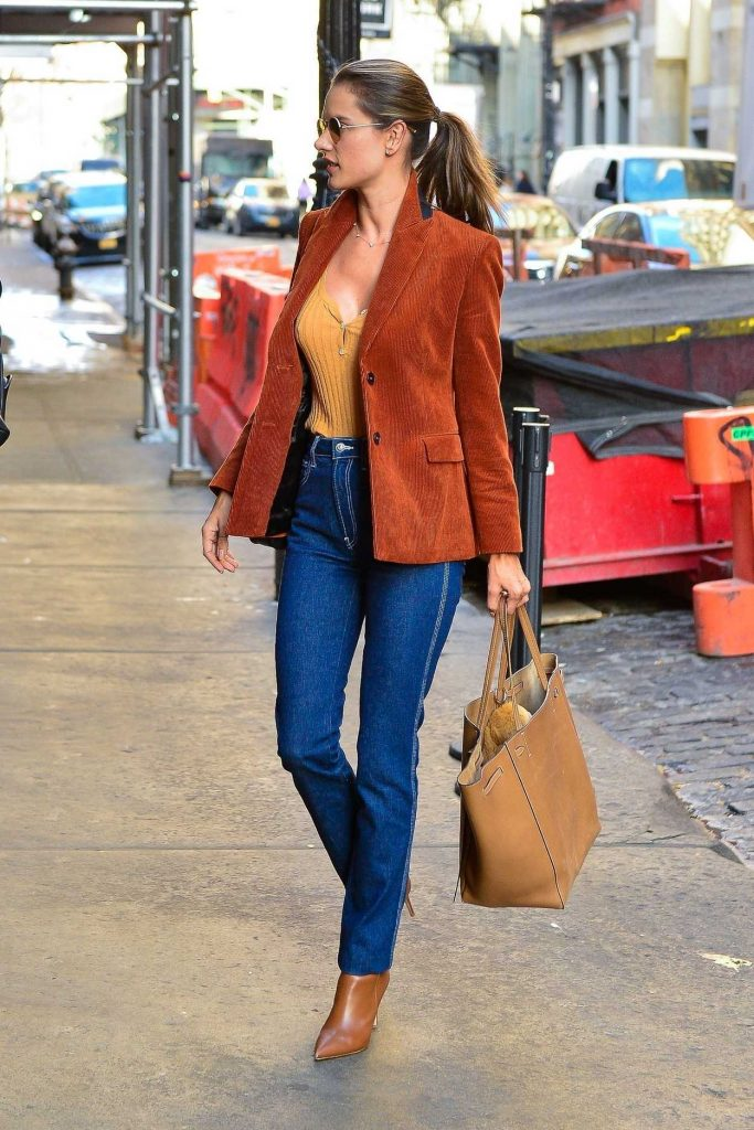 Alessandra Ambrosio in a Red Blazer