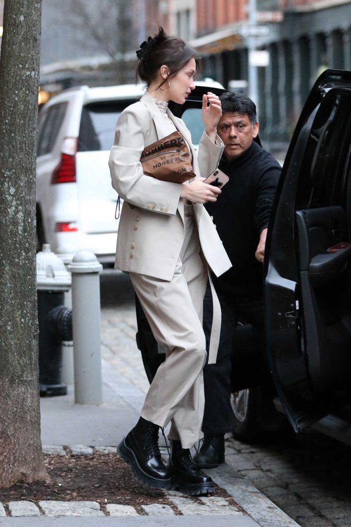 Bella Hadid in a Black Boots