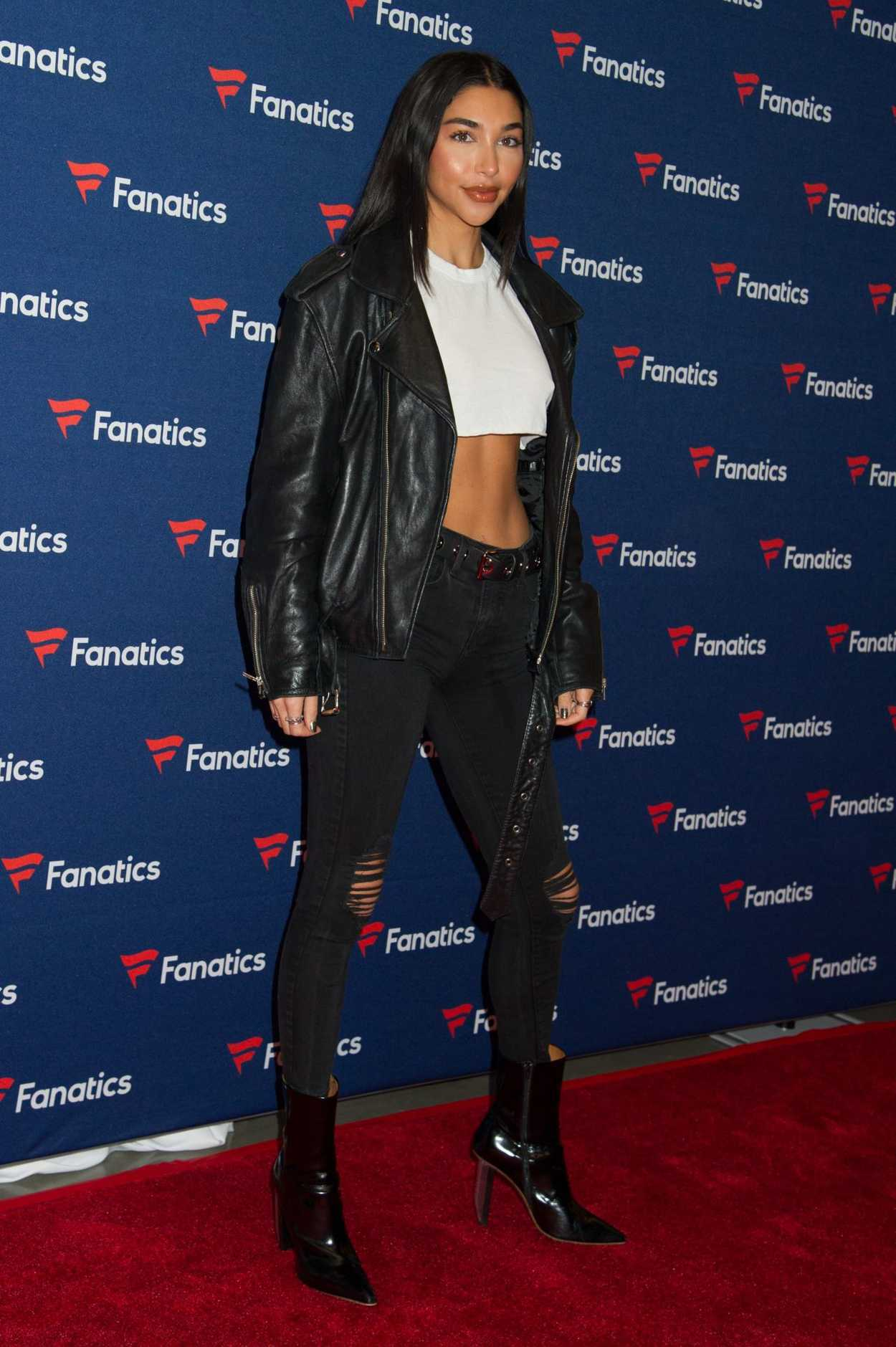 Daleela Echahly Street Fashion: Chantel Jeffries Attends Fanatics Super Bowl Party In