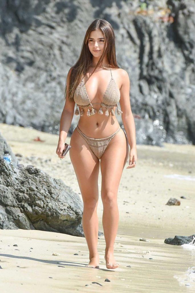 Demi Rose in a Beige Bikini