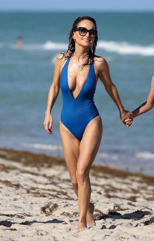 Giada De Laurentiis in a Blue Swimsuit