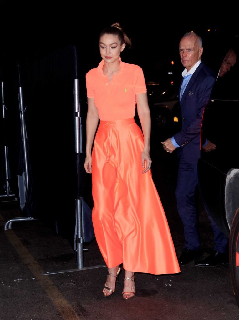Gigi Hadid in an Orange Polo