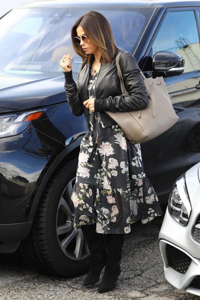 Jenna Dewan in a Black Leather Jacket