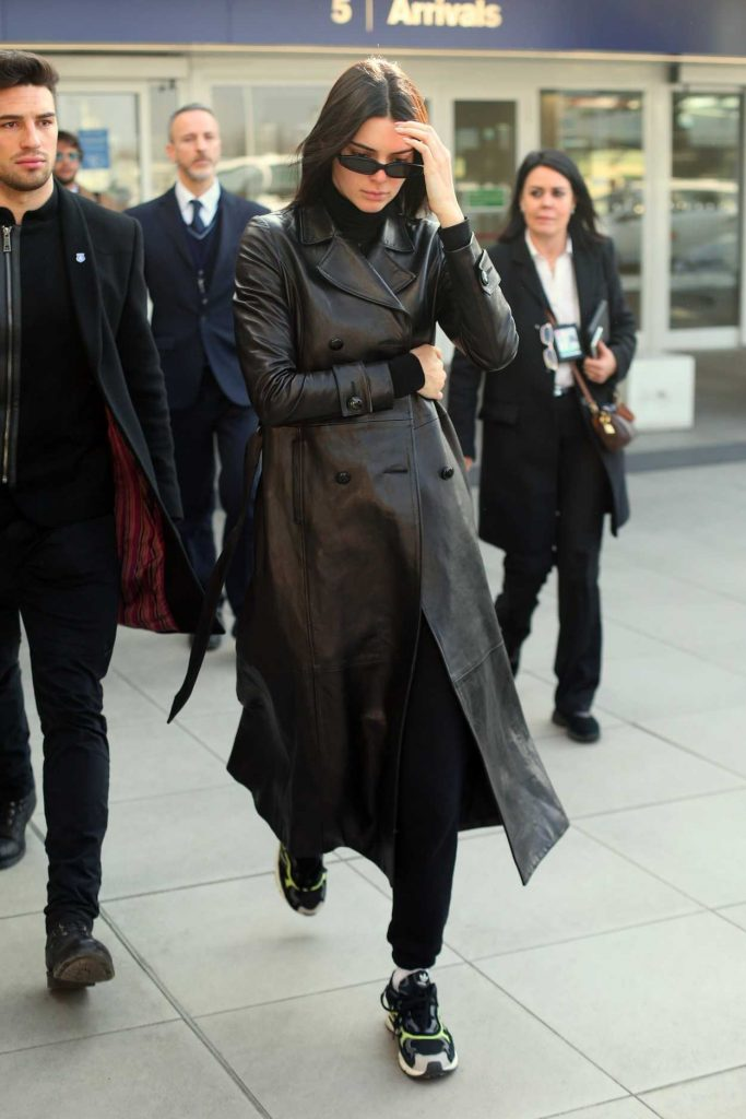 Kendall Jenner in a Black Leather Trench Coat
