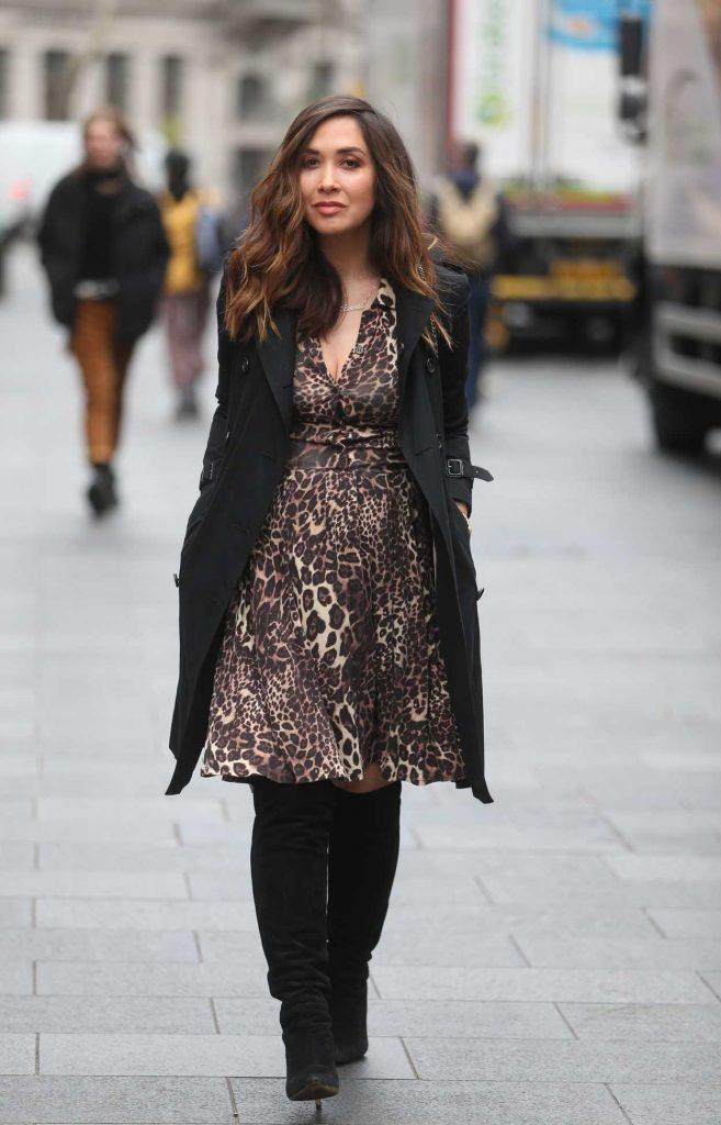 Myleene Klass in a Leopard Print Dress