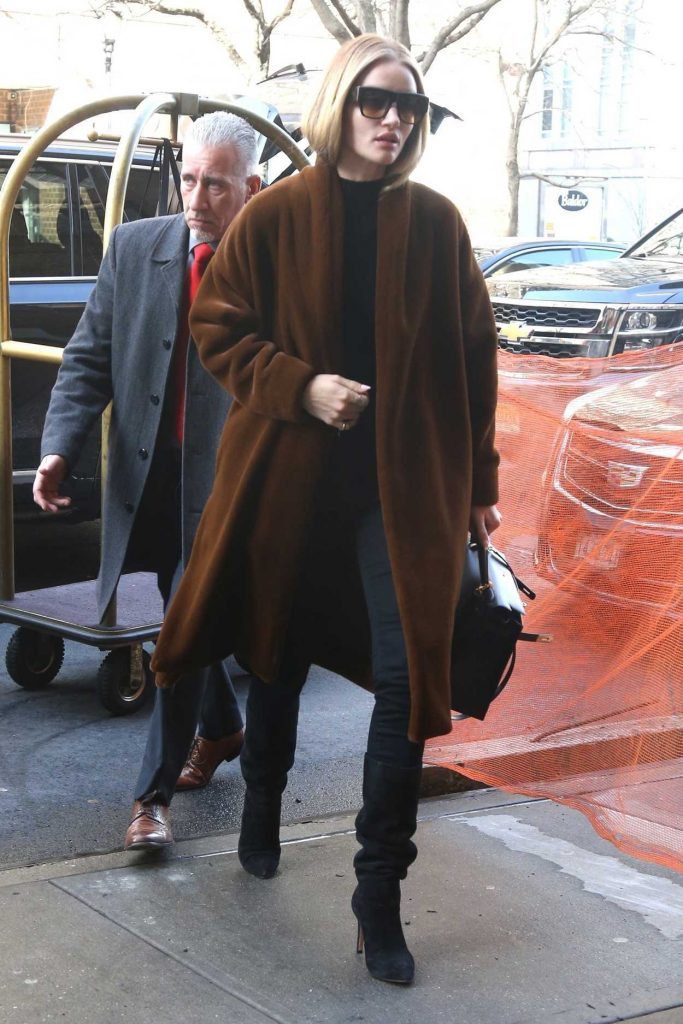 Rosie Huntington-Whiteley in a Brown Coat