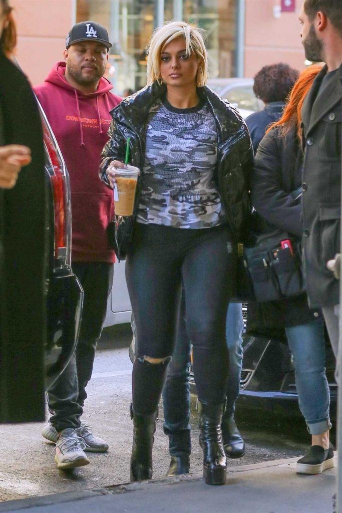 Bebe Rexha in a Black Puffer Jacket