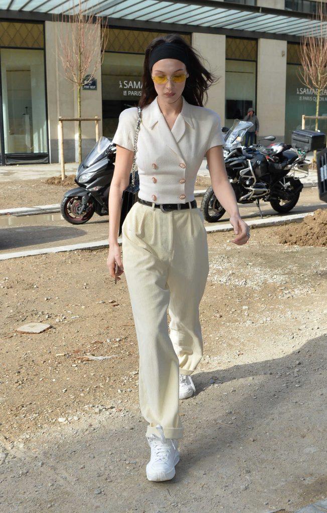 Bella Hadid in a Beige Blouse
