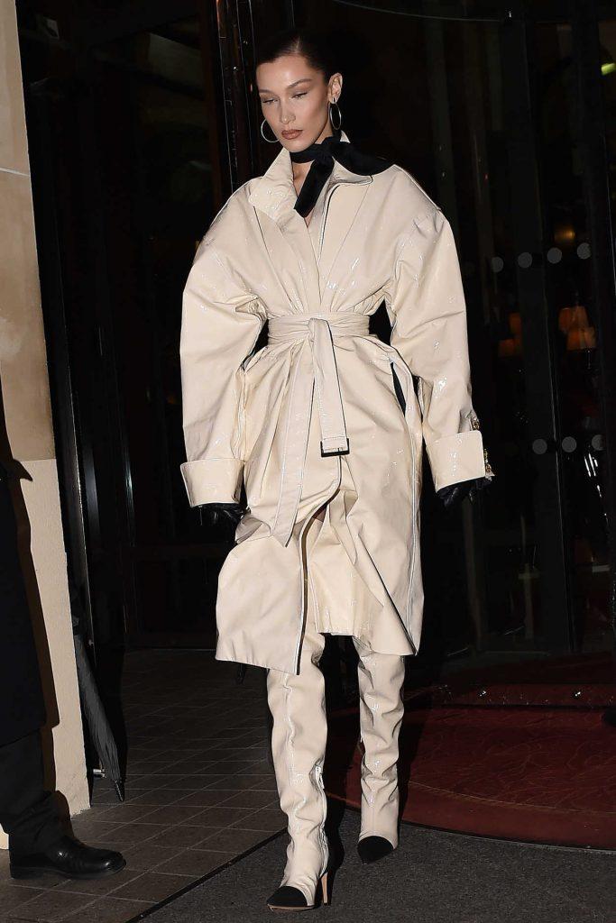 Bella Hadid in a Beige Trench Coat