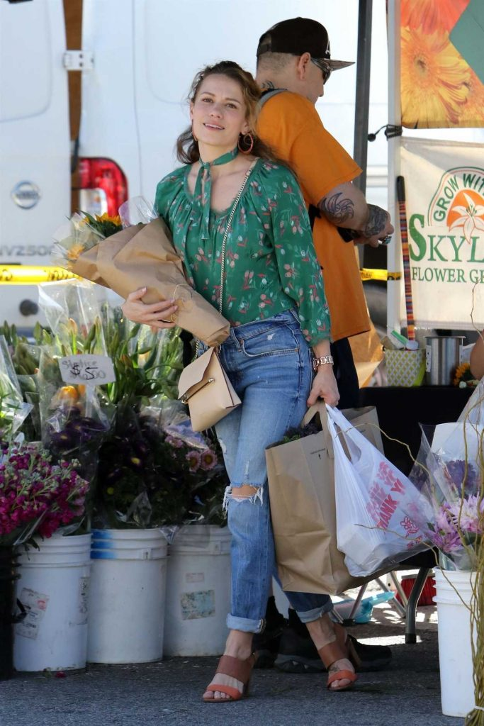 Bethany Joy Lenz in a Green Floral Blouse