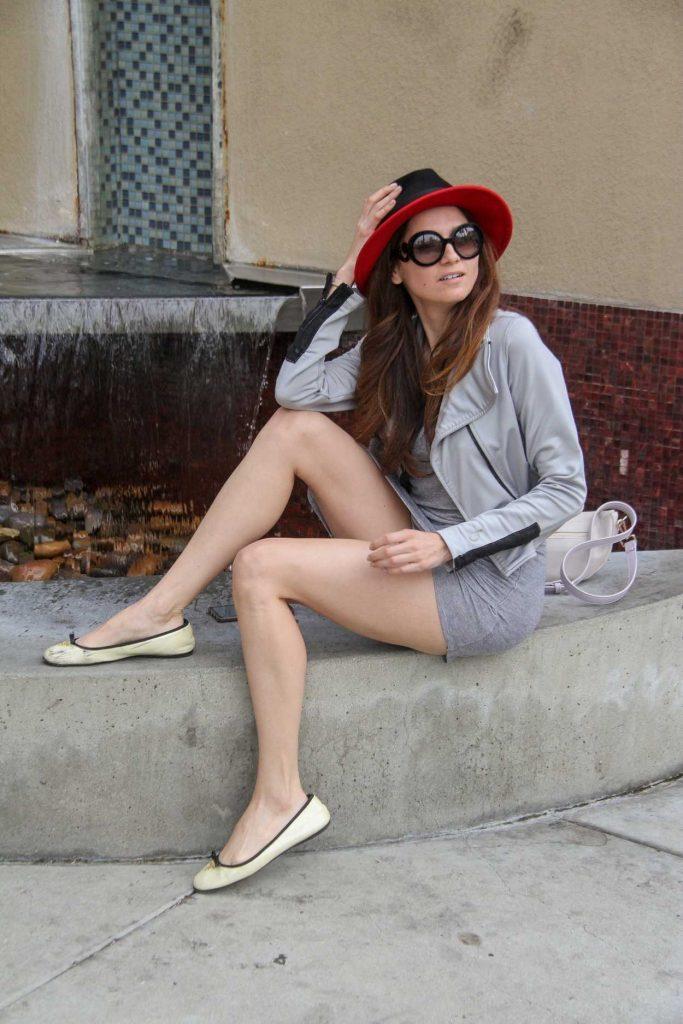 Blanca Blanco in a Gray Dress