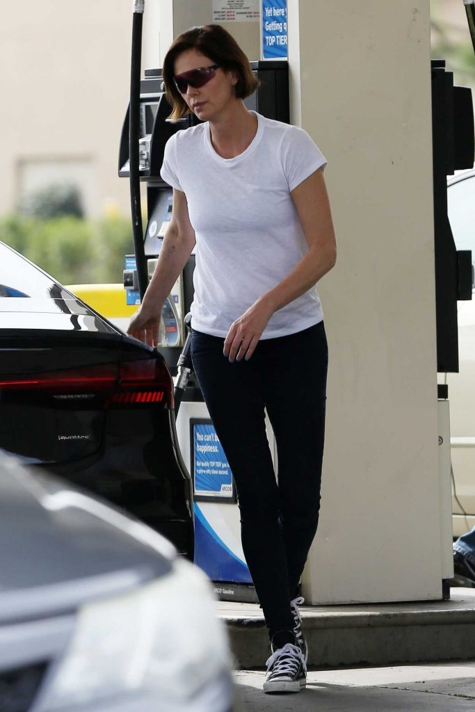 Charlize Theron in a White T-Shirt