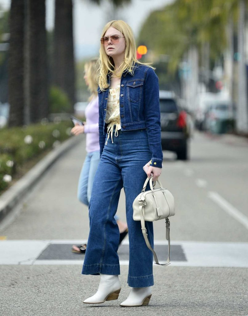 Elle Fanning in a Blue Denim Suit