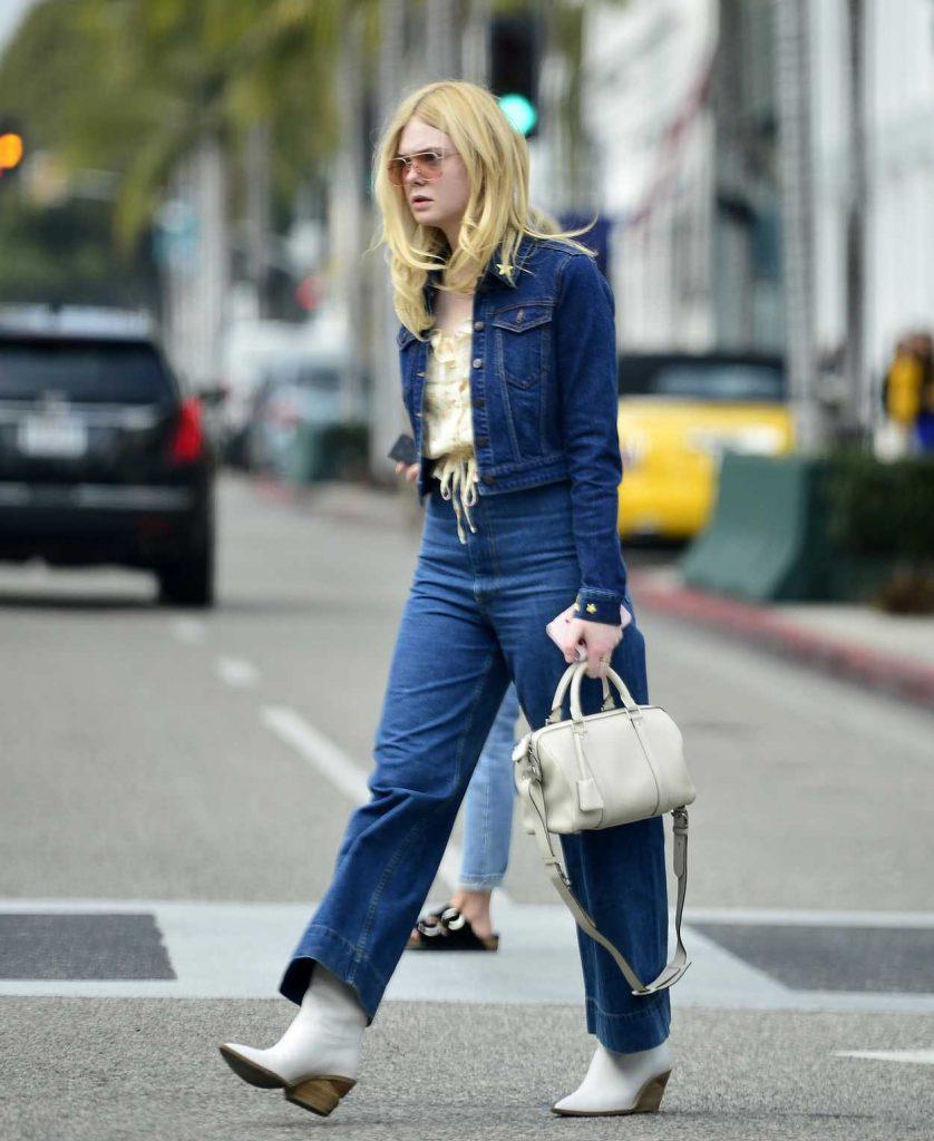 Elle Fanning in a Blue Denim Suit