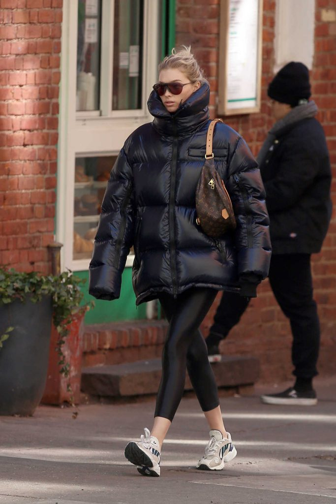 Elsa Hosk in a Black Oversized Puffer Jacket