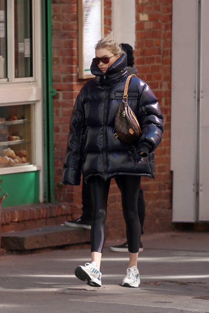 Elsa Hosk in a Black Oversized Puffer Jacket