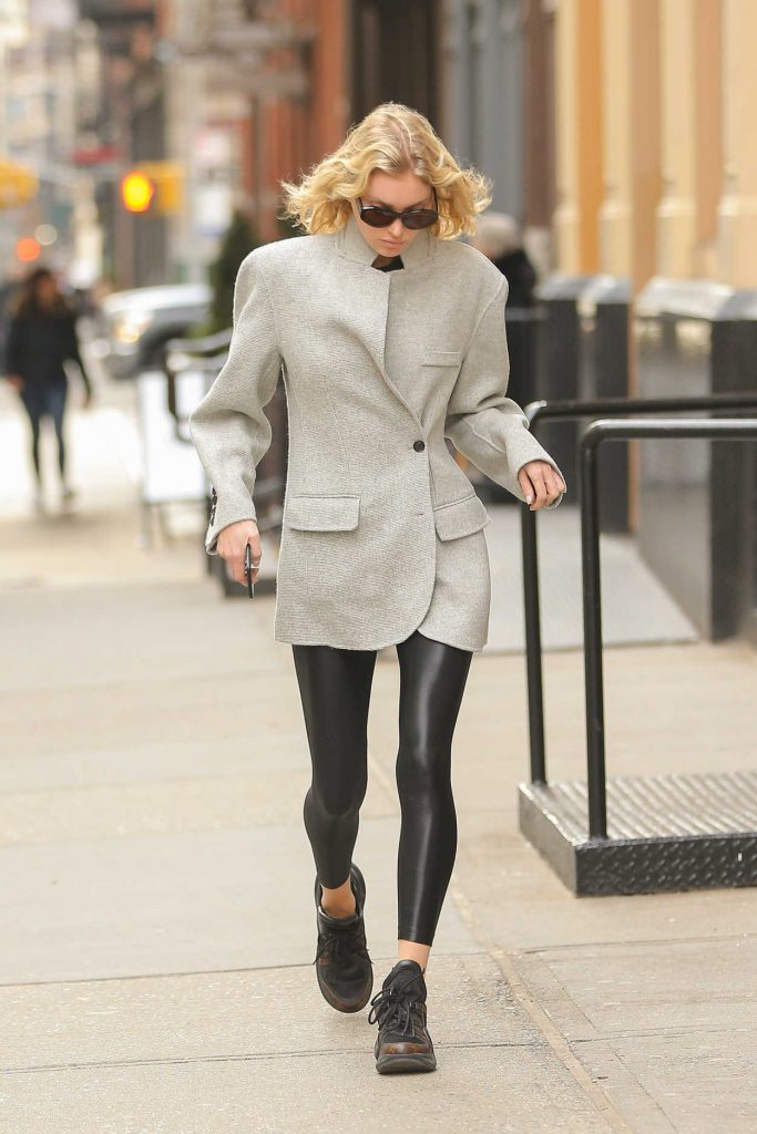 Elsa Hosk in a Gray Blazer