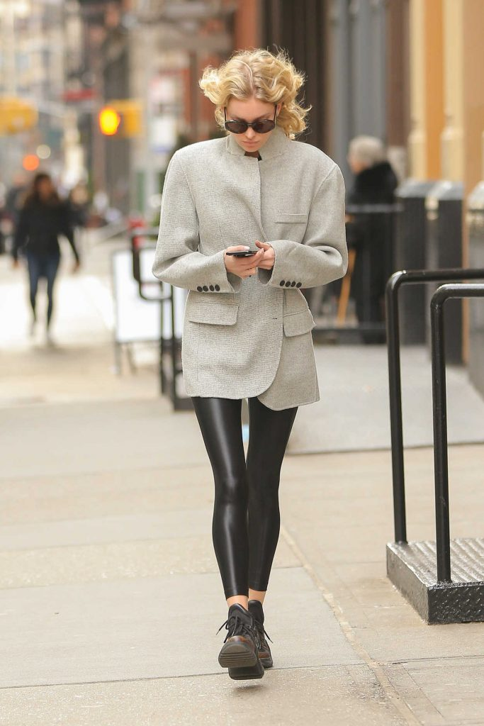 Elsa Hosk in a Gray Blazer