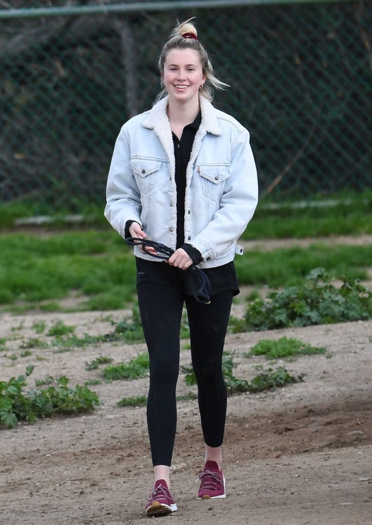Ireland Baldwin in a Blue Denim Jacket