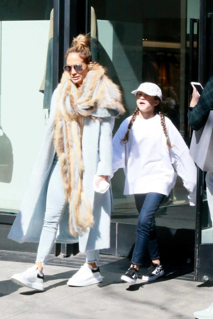 Jennifer Lopez in a Blue Coat