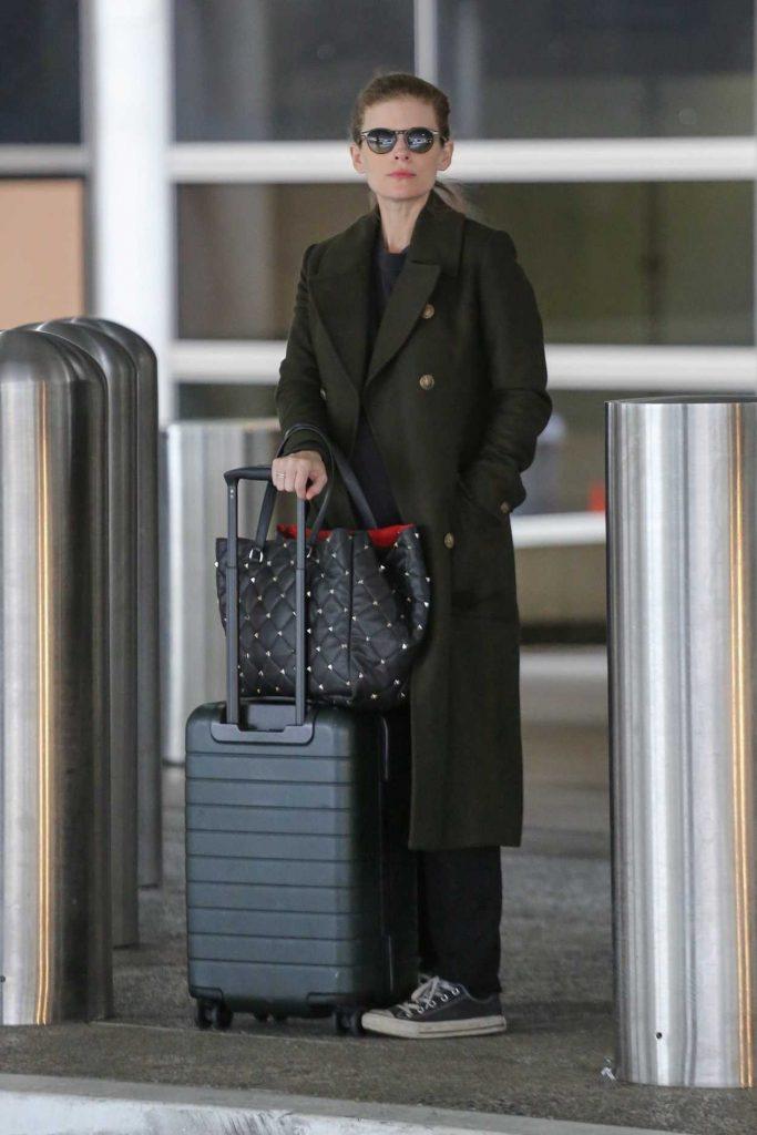 Kate Mara in a Black Coat