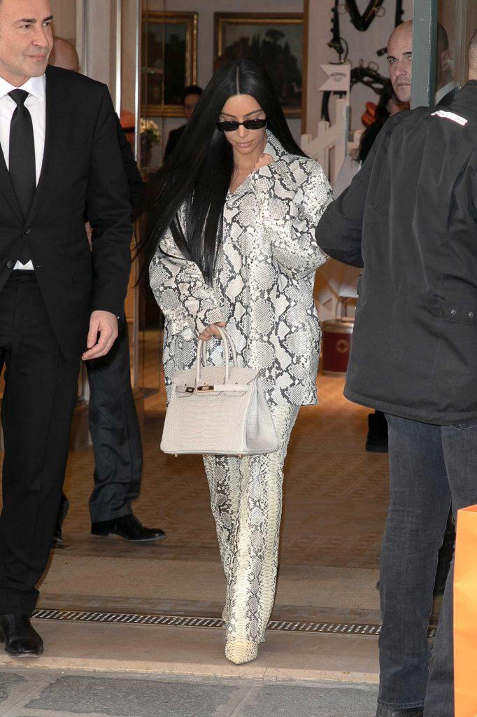 Kim Kardashian in a White Snakeskin Suit