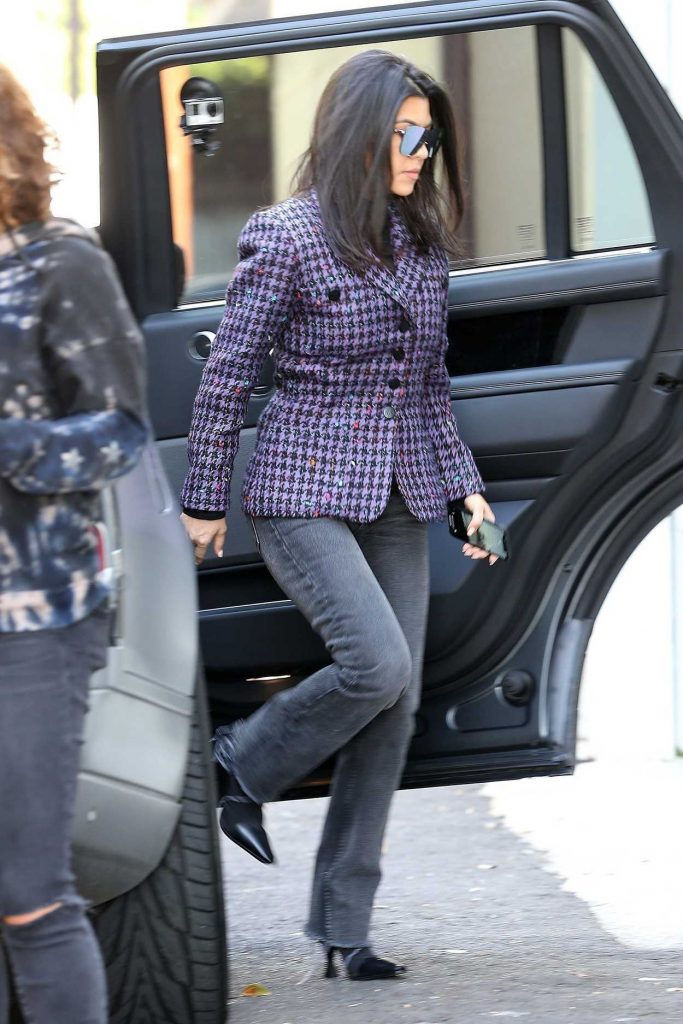 Kourtney Kardashian in a Purple Blazer