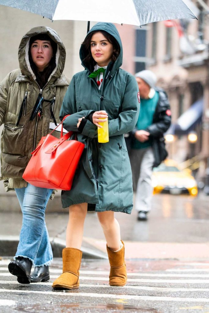 Lucy Hale in a Green Parka