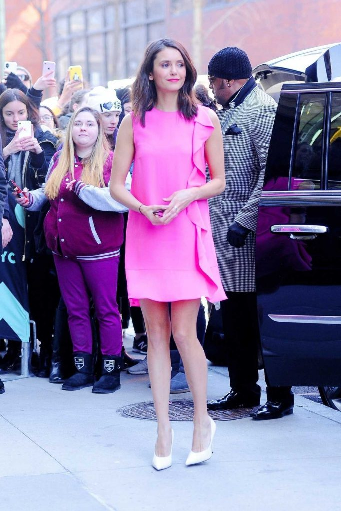 Nina Dobrev in a Pink Dress
