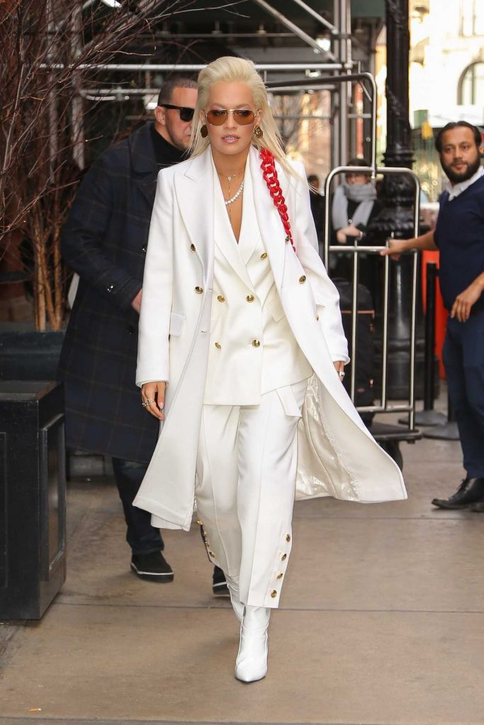 Rita Ora in a White Suit