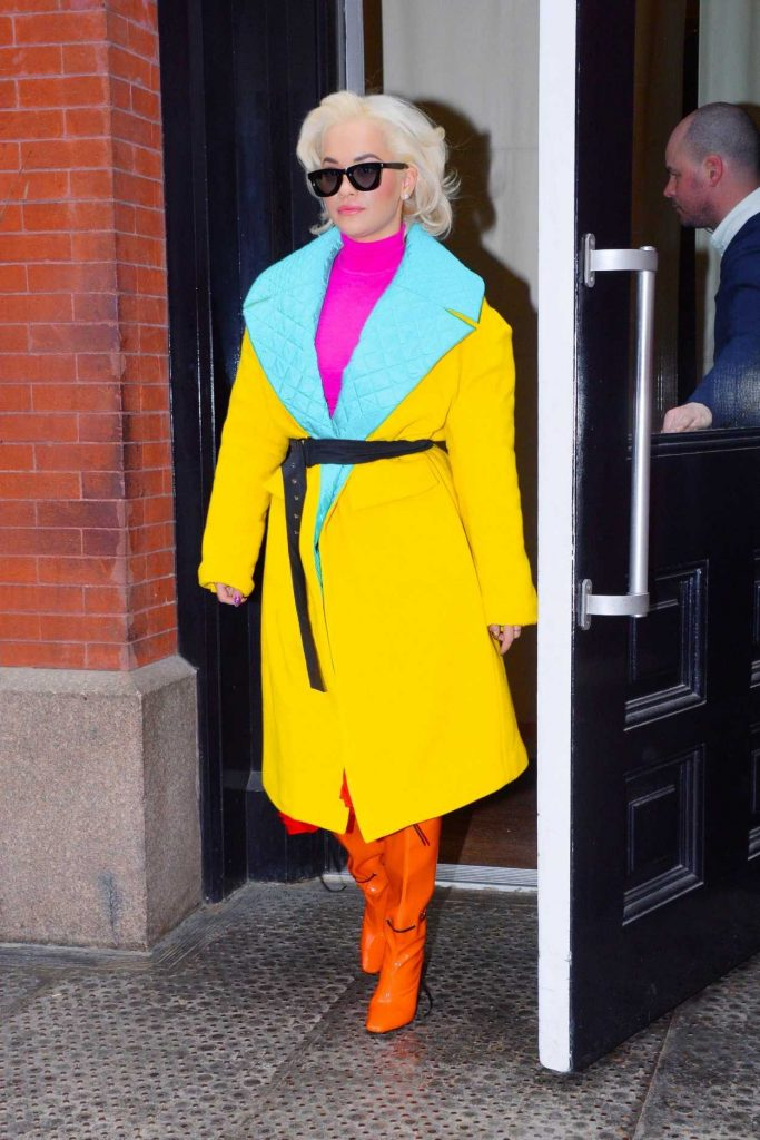 Rita Ora in a Yellow Coat