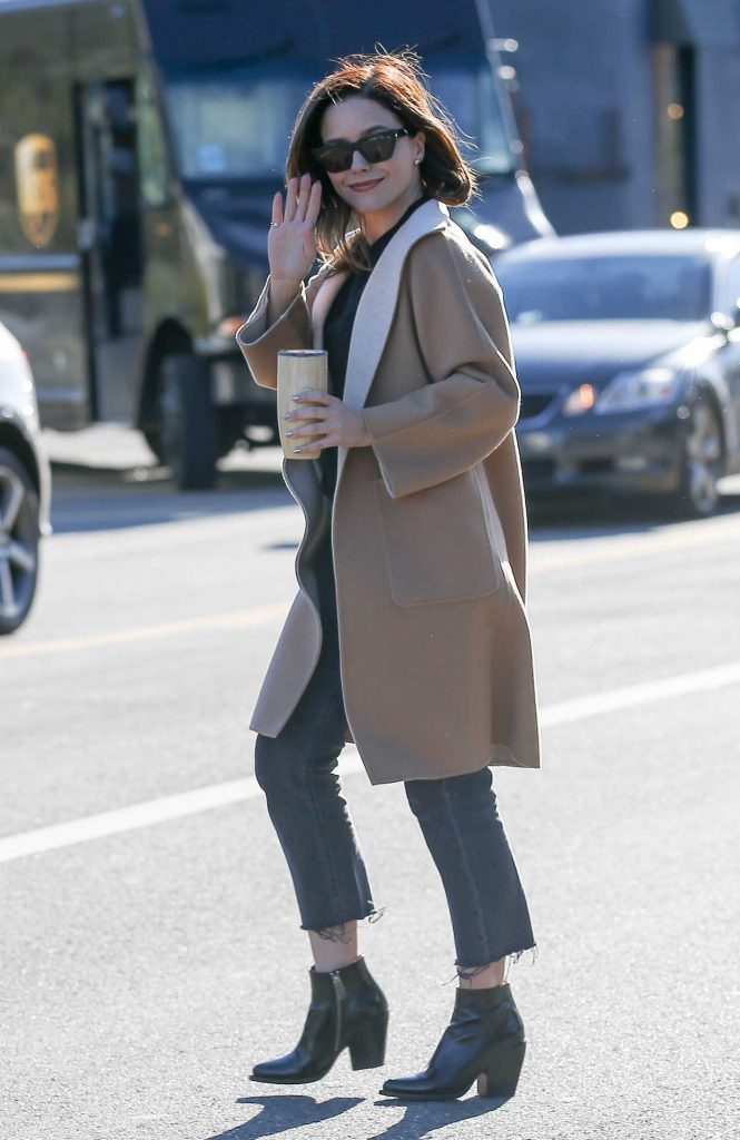 Sophia Bush in a Beige Coat