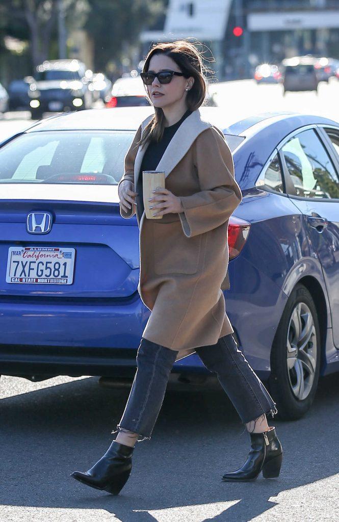 Sophia Bush in a Beige Coat