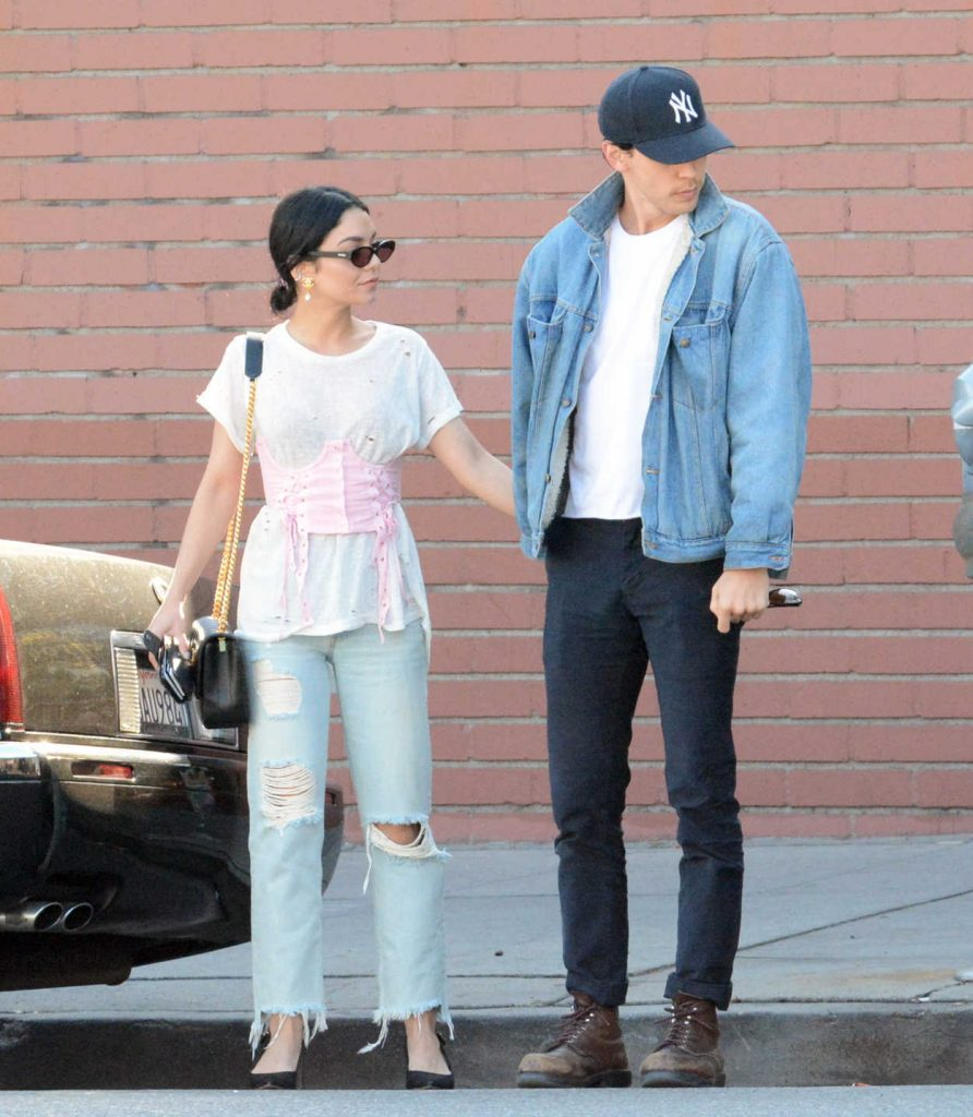 Vanessa Hudgens in a Blue Ripped Jeans