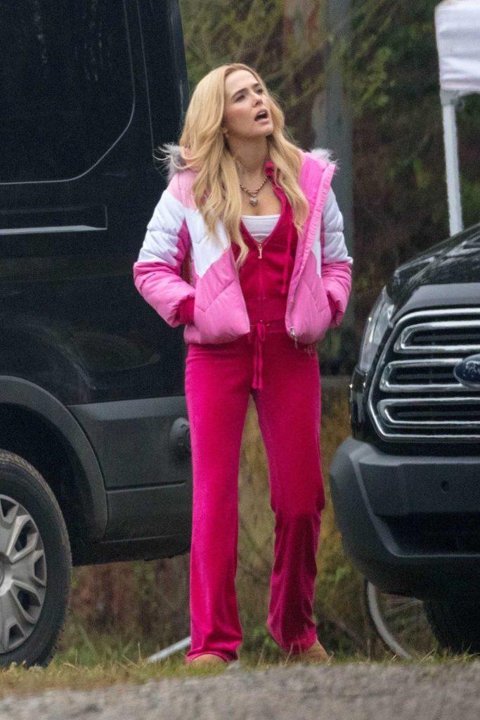 Zoey Deutch in a Red Jogging Suit